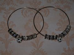 Silver Hoop Earrings with Black and White Crystals by opalsandowls, $23.00
