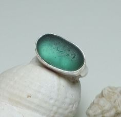 Handmade Sterling silver and sea glass ring - Teal green on Etsy, £30.00