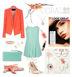 """Spring Beauty: Corals"" by tessawarongan on Polyvore featuring beauty, Tara Jarmon, Ally Fashion, Gianvito Rossi, RumbaTime, Charlotte Russe, Chanel, Essie, Bobbi Brown Cosmetics and Spring"