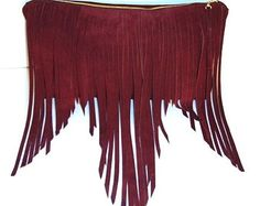 Bohemian leather clutch with fringe- Oxblood suede leather bag