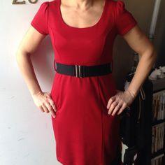 Red Short Sleeve Dress With Black Belt