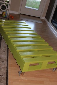 Twin bed made from pallets. could add a diy headboard. Instead of casters, put on short legs and have a trundle drawer for matchbox cars, puzzles or other toys.