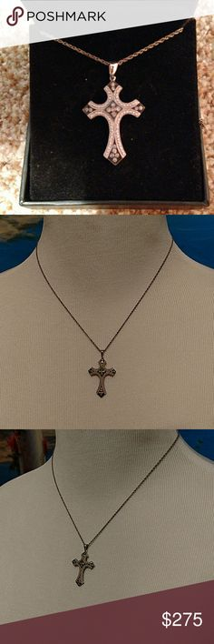 Effy necklace black and white diamond cross Effy necklace black and white diamond cross. Beautiful short silver chain effy  Jewelry Necklaces