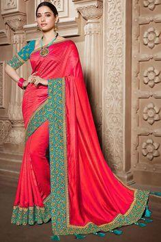 Coral Orange silk saree with peacock blue banglori silk blouse, embellished with dori work, resham work, stone work and zari work. Saree with Round Neck, Half Sleeve. It comes with unstitch blouse, it can be stitched 32 to 58 sizes. #coral orange #silk #saree #blouse #Indiansaree #Andaazfashion #UK Party Fashion, Fashion 2020, Wedding Saree Collection, Bridal Lehenga Choli, Wedding Sarees, Indian Sarees Online, Art Silk Sarees, Traditional Sarees, Coral Orange