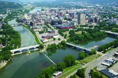 Binghamton, New York...funny I have lived here for almost 20 years and this is the first time I am seeing this with the real definition between the two rivers. Probably taken on our only nice day a year....