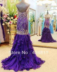 New Arrival Sweetheart Neckline With Fully Beade Crystal Ruffle Sexy Backless Purple Mermaid Prom Dresses