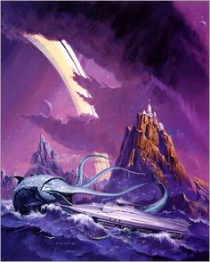 Seashores and purple skies from Vincent Di Fate http://ift.tt/1jGlwI5 #scifi #art