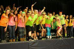 Neon Theme. Rachel's Challenge. Student Section Accepts the Challenge. School Spirit. Game Theme. High School. Basketball Game.