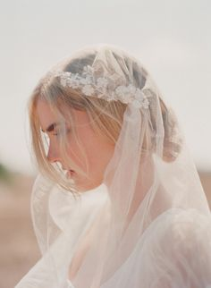 Silk tulle with hand embroidered lace trim veil - Style # 301 by Twigs and Honey