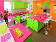 Multicolor: Whimsical Fairy Garden - 30 Bright, Bold and Colorful Kitchens on HGTV - Not for me but kind of fun anyway!