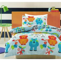 Zoological quilt cover set available in single and double bed sizes and perfect for children that love animals.