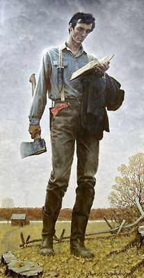 Abe lincoln swinging an axe