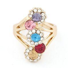 Cubic multicolor diamond decorated sun flower design alloy Korean #Rings  www.asujewelry.com