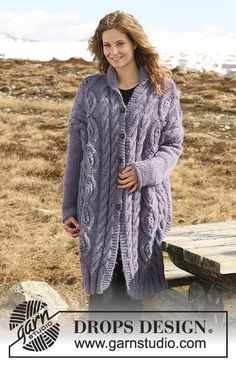 Ravelry: Long Jacket in Eskimo pattern by DROPS design Cable Knitting, Knitting Charts, Knitting Patterns Free, Free Knitting, Free Pattern, Crochet Patterns, Drops Design, Knitted Coat Pattern, Jacket Pattern