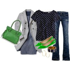 Green shoes...yes please!  stripes & dots, created by shopwithm on Polyvore