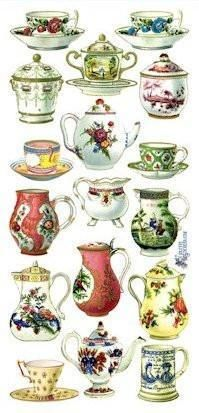 French China Victorian Stickers - Roses And Teacups