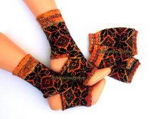 Yoga socks***.Hand knitted yoga socks from yellow-brown colored sock yarn with black  star ornament.Elegant and stylish yoga socks.Gift idea