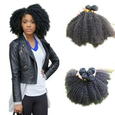 100% Virgin Afro Kinky Curly Human Mongolian Hair Extension Weave  7A Black #2 #HairExtension