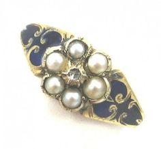 Diamond Pearl Enamel Cluster or Flower Ring - Early