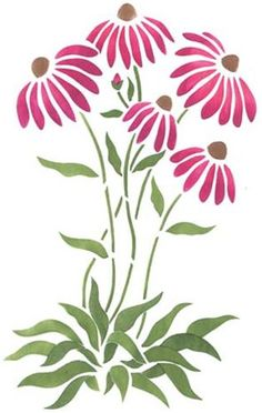 Wall Stencil Patterns Templates Flower New Ideas Wall Stencil Patterns, Stencil Painting, Fabric Painting, Wall Stenciling, Fabric Paint Designs, Stencil Designs, Flower Patterns, Flower Designs, Pattern Flower