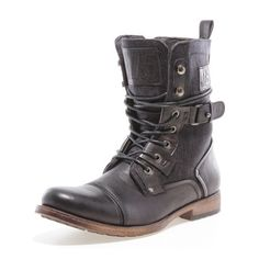 The Defense Boot is a rugged classic you can pair with anything. Made in a half textile, half polished faux leather upper, its back buckle and riveted detailing give it an added edge.