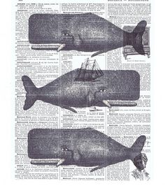 Whales. sea creatures. repurposed paper ephemera; antique book pages with vintage illustrations  I am in Canada; AVERAGE SHIPPING TIME TO U.S.A.