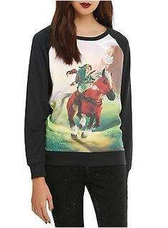 Black long-sleeved top from <i>The Legend Of Zelda: Ocarina Of Time 3D</i> with a Link and Epona design.