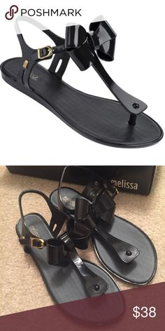 NEW MELISSA SANDALS Melissa / bow sandals, m logo on the side / pvc / new in box Melissa Shoes Sandals