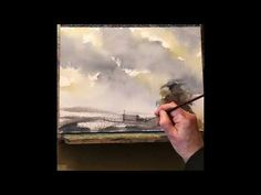 10 Minute Stormy Sky Watercolour Demonstration - YouTube Watercolor Video, Watercolor Sky, Watercolor Journal, Watercolor Tutorials, Watercolor Techniques, Painting Tutorials, Watercolor Landscape, Watercolor Paintings, Sky Painting