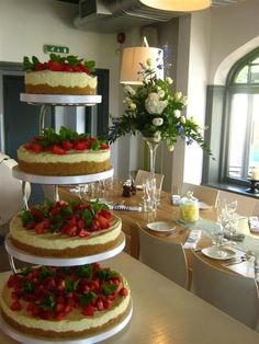 3 Tier Cheesecake Wedding Cake with Fresh Strawberries on Top