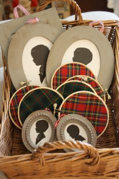 Silhouette Ornaments from Holly Mathis Interiors Tartan Christmas, Merry Little Christmas, Primitive Christmas, Plaid Christmas, All Things Christmas, Christmas And New Year, Winter Christmas, English Christmas, Christmas Fabric
