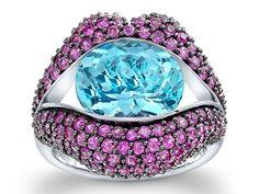 #LorettaCastoro #KissMe #pinksapphire and #bluetopaz #ring #GlitzGlitterandGlam