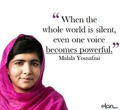 """When the whole world is silent, even one voice becomes powerful."" - Malala Yousafzai Happy International Women's Day. Here's to all then women who have changed the world and all the ones striving to."