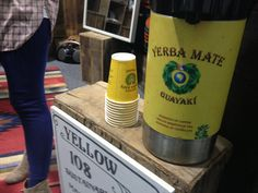 Guayaki placed yerba mate pump pots all over the showroom floor. Here's the flow going to the salvageable clothiers at Yellow 108.