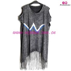 This off shoulder top is made up of cotton/polyester, and with fashionable fringe, color and design is classical and chic.