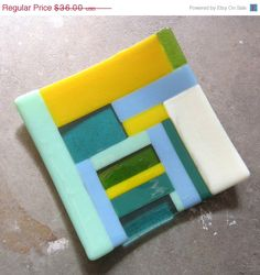 Black Friday Sale - Colorful Fused Glass Plate, Glass Table Decor, Glass Home…