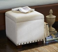 Raleigh Upholstered Storage Cube with Nailhead | Pottery Barn