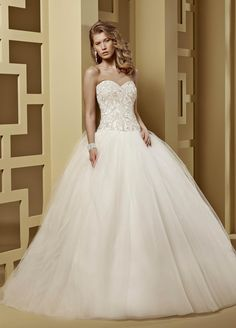 2015 Ball Gown Sweetheart Beading Court Train Tulle Wedding Dresses