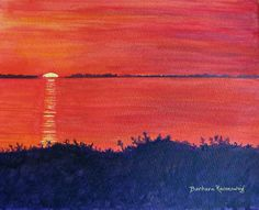 """#Abstract #Sunset #Bay #Original #Watercolor #Painting #Art #Landscape #Wall #Home #Décor """"Red Hot Sunset over Sarasota Bay"""" Who would believe a fiery orange sky! It exists in Florida over Sarasota Bay. 8x10 Copyright © 2012 Barbara Rosenzweig, Etsy, $190.00"""