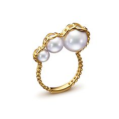 MELANIE GEORGACOPOULOS TASAKI > INVENTION.  Stretched ring. RC-4566-YGK18. Yellow gold / white freshwater pearl. ¥ 168,000