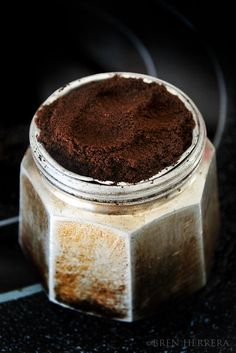 Espresso grind in funnel.