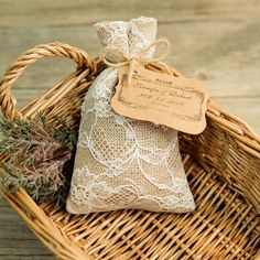 rustic jute hessian favor bags with bracket craft paper tags