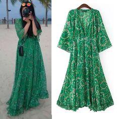 Hippie Long Bohemian Maxi Dress Robe Longue Beach Dress Femme Green Color V Neck Long Sleeve Chiffon Dresses For Women BI00047
