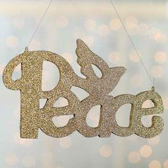 "Gold Glittered ""Peace"" Ornament"