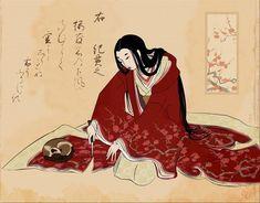 Старинная японская гравюра: женщина отрезает подол кимоно, чтобы не потревожить спящую кошку