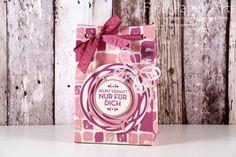 Stampin up - Gift Bag, Papiertasche, Gift Bag Punch Board, Stanz- und Falzbrett für Geschenktüten, Swirly Bird, Thinlits Wunderbar verwickelt, Stempelset Hausgemachte Leckerbissen, In Color 2016-2018 - Fine Paper Arts