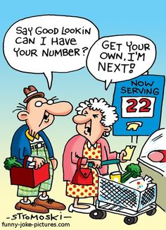 Funny Old People Queue Number Cartoon