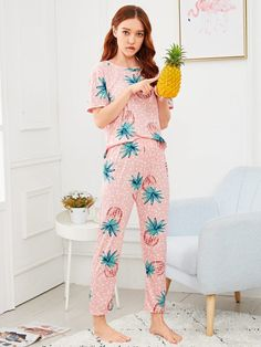 01b7c88d48 Nightwear Pineapple Print Polka Dot Pajama Set Lingerie & Loungewear