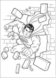 Superman goes through the wall coloring page from Superman category. Select from 25651 printable crafts of cartoons, nature, animals, Bible and many more.