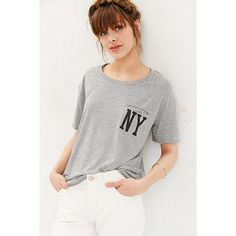 BDG NY Striped Pocket Tee (108.730 COP) ❤ liked on Polyvore featuring tops, t-shirts, grey, graphic tees, short sleeve graphic tees, graphic t shirts, short sleeve t shirts and striped crew neck t shirt